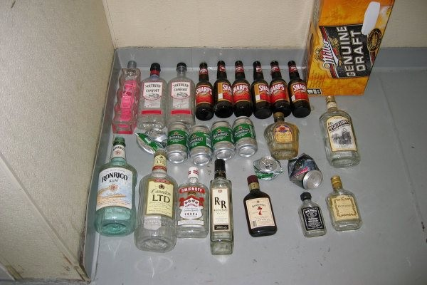 33 bottles and cans of alcohol found concealed throughout a vessel during an inspection.