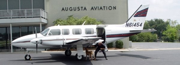 Explosives detection inspection on a corporate aircraft at the Augusta, GA airport.