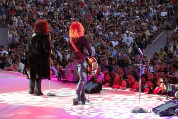 Protective coverage for Ann and Nancy Wilson of Heart during performance.