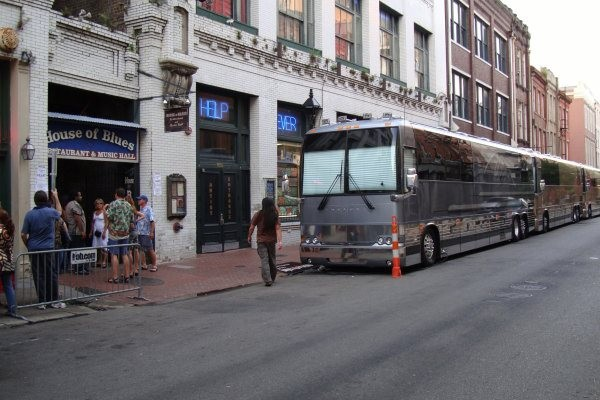 Tour busses outside the House of Blues, New Orleans, LA.