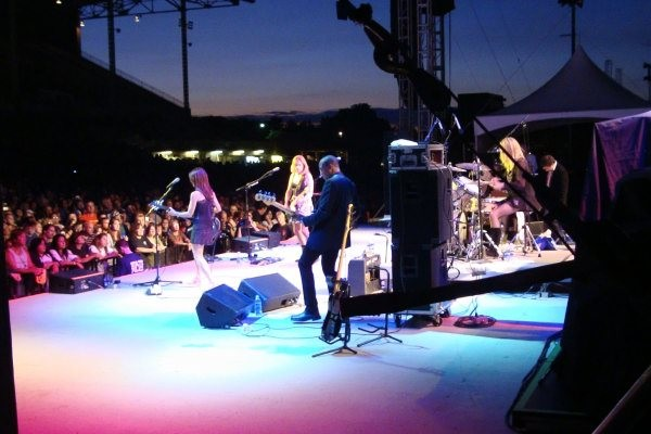 Side stage security position during the Bangles rock concert.