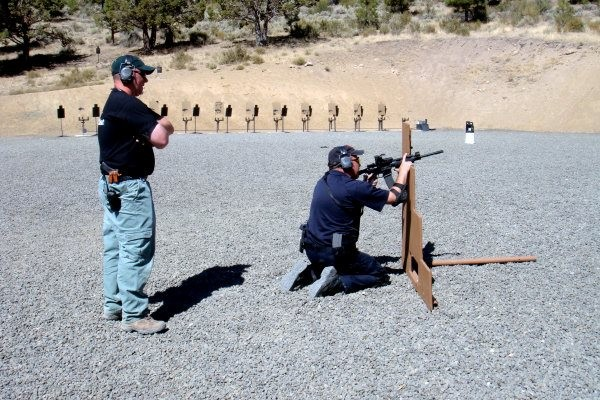Barricade firing with carbine.