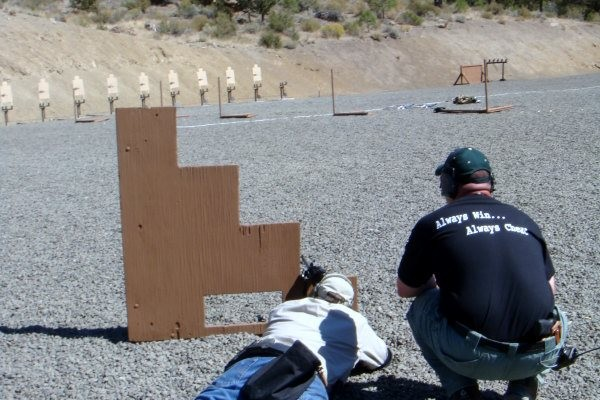 Prone firing position instruction at Thunder Ranch.