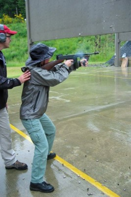 Firing the classic Thompson SMG at the FBI range, Covington, WA.