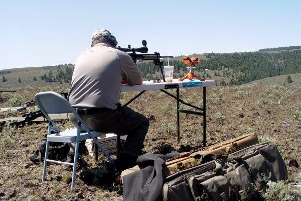 "Taking a precision rifle shot at 750 yards to pop a 6"" balloon at Iron Horse Ridge, WA."
